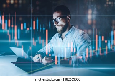 Double exposure.Market traider making analysis of digital market and investment in block chain crypto currency. Red and green candlestick chart and stock trading computer screen background