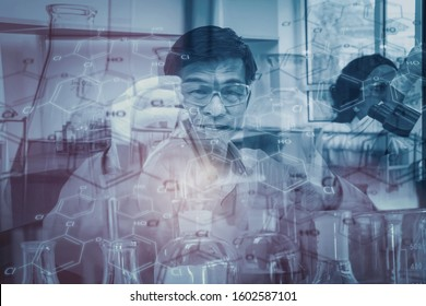 Double exposure-professor and black female scientist in protective glasses and gloves testing tube chemical ingredient,test sample antibiotics and future food used in medical development for people