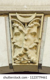Double face, Janus head as capstone on a doorway arch, Koenigstein, Saxony, Germany.