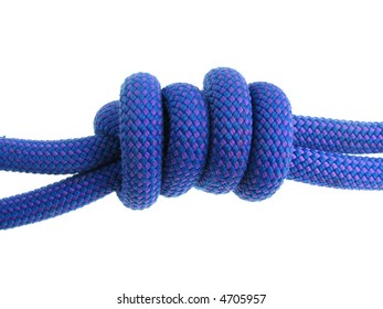 double fisherman's or grapevine knot in blue climbing rope isolated on white