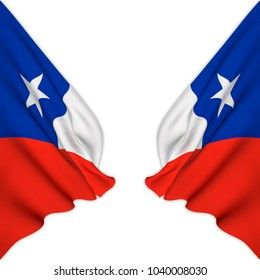 Double flag of Chile elegantly waving on a white background.3D Rendering