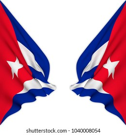 Double flag of Cuba elegantly waving on a white background.3D Rendering