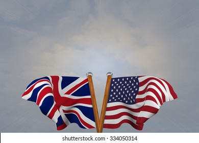 Double flags USA and  United Kingdom, joined on v-shaped wooden pole