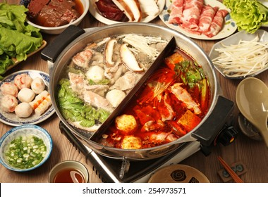 Double flavor hot pot on the table