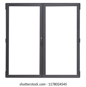 Double glass doors isolated on white background, black aluminium office window frame for interior design