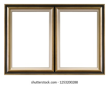Double golden frame (diptych) for paintings, mirrors or photos