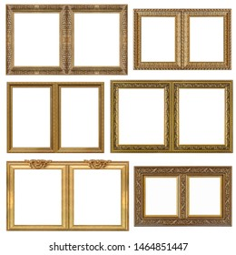 Double golden frame (diptych) for paintings, mirrors or photos isolated on white background