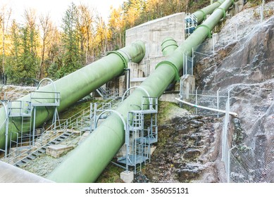double green penstock  for transfer  a lot of water for generate electric power.