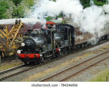 Double headed steam trains pound the tracks