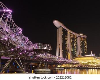 Double Helix Bridge and Marina Bay Sands, Singapore
