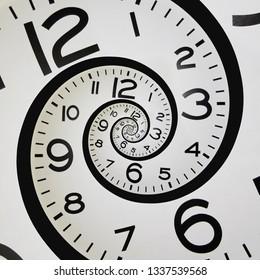 Double Helix clock spiraling into itself