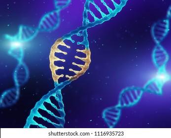 Double helix DNA molecule with modified genes, CRISPR and Molecular genetics, 3d illustration