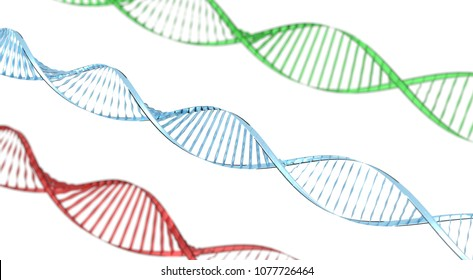 double helix dna on white background 3d render