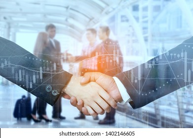 Double Image,Businessmen Handshake After Successful Negotiations ,There is Backdrop Behind a Businessman Talking About Something with a Business Partner