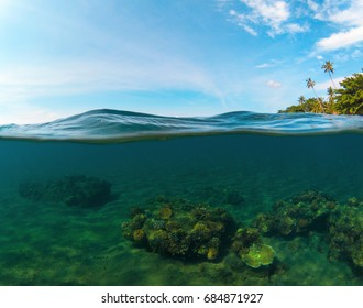 Double landscape with sea and sky. Split photo with tropical island and underwater coral reef. Coral reef double landscape. Above and below waterline seaview. Exotic seashore panorama. Split seascape