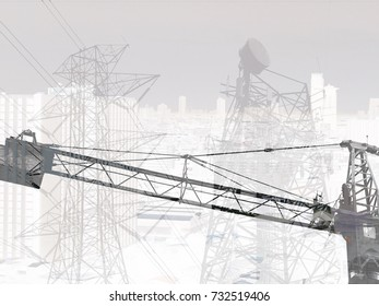 Double layer building trane silhouette and blur electric and telecommunication tower concept for develop technology.