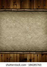 Double layered background - wooden planks and handmade paper