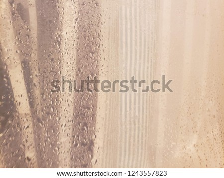 Double Layered Shower Curtain With Water Droplets On The Inner From Perspective Of Someone