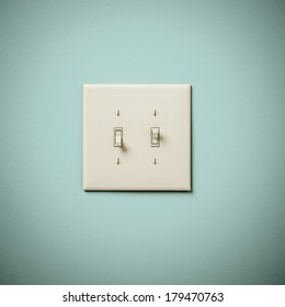Double Lightswitch on Blue Green Aqua Teal  Wall On and Off