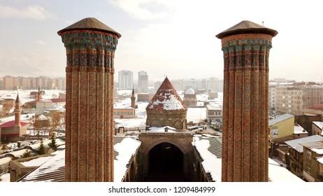 the double minaret madrasah,historical artifacts