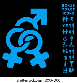 Double Mistress icon and bonus male and woman WC symbols. Glyph illustration style is flat iconic symbols, blue color, black background.