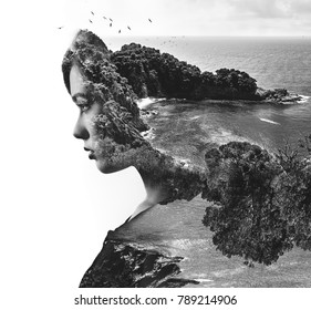 Double, multiple exposure. Digital art. Portrait of woman combined with lush nature. Beautiful landscape. Rocky coast, sea and flying birds. Beach, coastline and profile of female face. Black white