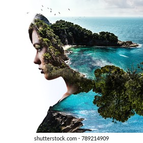 Double, multiple exposure. Digital art. Portrait of woman combined with lush nature. Beautiful landscape. Rocky coast, turquoise sea and flying birds. Beach, coastline and profile of female face.
