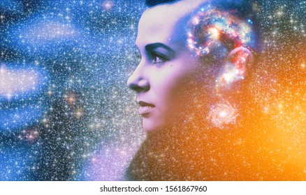Double multiply exposure abstract portrait of young woman face with galaxy universe space inside head. Human mind spirit, ai brain, astronomy, ask question answer concept Elements image furnished NASA