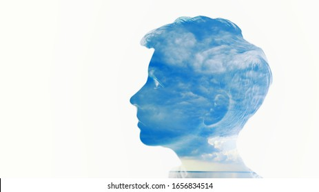 Double multiply exposure beautiful woman head face silhouette portrait white isolated with sea water and cloud nature. Mind psychology, stress therapy, human spirit, mental health, life zen iq concept