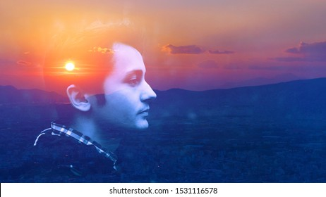 Double multiply exposure portrait of a dreamy cute man face outdoors, combined photograph of nature, sunrise or sunset. closeup. Psychology mindset power of mind, brain memory inner voice concept.