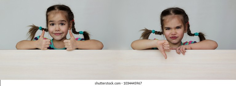 Double photo of cute 5 years old girl with funny pigtails showing like and dislike gestures with thumb up and down on white background, space for copy, advertising and announcement concept, studio