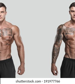 A double photo of a tattooed muscled man
