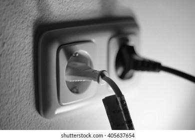 double plug socket on the wall