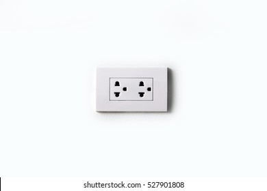 Double plug socket on the wall  isolated on white background
