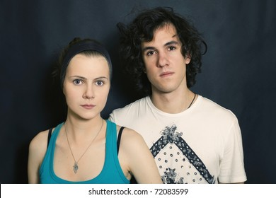 double portrait of young men and women on a black background
