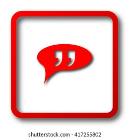 Double quotes icon. Internet button on white background.