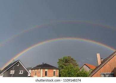 Double rainbow after bad weather