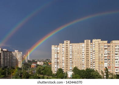 Double rainbow after the rain in the city of Kiev