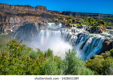 Double Rainbow and Clear Skies Over Shoshone Falls in Twin Falls, Idaho