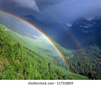 Double rainbow in Glacier National Park  Montana