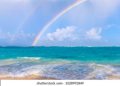 Double rainbow over the sea. ArenaGordaBeach in the Dominican Republic. Nature of the Caribbean islands.