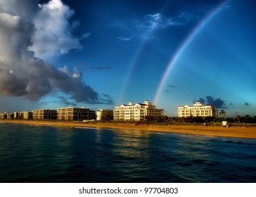Double Rainbows: View from the Lake Worth Pier:  Lake Worth, FL