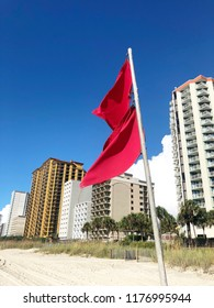 Double red flags posted at Myrtle Beach in advance of approaching Hurricane Florence. Dangerous surf, no swimming.