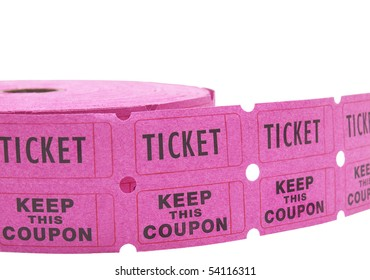 Double roll of pink raffle tickets with all numbers removed. Isolated on white for easy removal.
