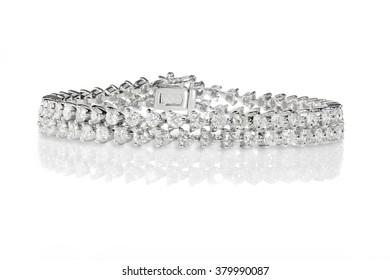 Double Row Diamond tennis Bracelet set in white gold or silver
