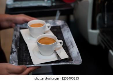 double shot espresso in mini cafe