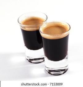 double shots of espresso on classy shot glasses
