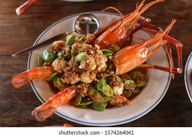 double shrimp on dish and spoon
