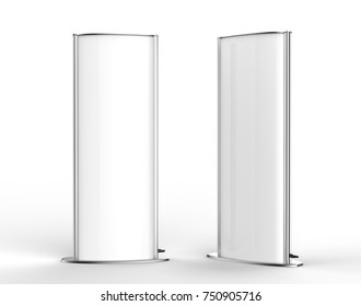 Double sided outdoor advertising metallic back lit Poster stand Mock up. Curved  LED B Totem Poster Light Box. 3d render illustration.