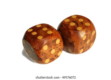 Double sixes is winning position on the wooden dice.